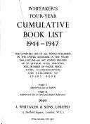 Whitaker s Five year Cumulative Book list  1939 1943
