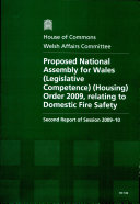 Proposed National Assembly for Wales (Legislative Competence) (Housing) Order 2009, Relating to Domestic Fire Safety