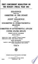 First Concurrent Resolution on the Budget  Fiscal Year 1981