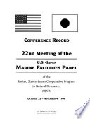 Meeting of the United States Japan Cooperative Program in Natural Resources  UJNR  Panel on Marine Facilities Book