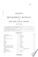 Checklist of Department Reports in the New York Public Library