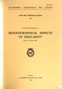 International Symposium On Biogeographical Aspects Of Insularity Rome 18 22 May 1987