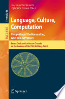 Language Culture Computation Computing For The Humanities Law And Narratives