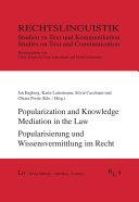 Popularization and Knowledge Mediation in the Law  Popularisierung und Wissensvermittlung im Recht