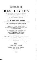 Catalogue des livres de linguistique, de littérature et d'histoire en langues européennes et orientales de Benjamin Duprat