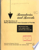 Boundaries and Records in the Territory of Early Settlement from Canada to Florida Book