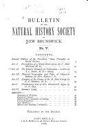 Bulletin of the Natural History Society of New Brunswick