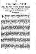 Testamento del Reverendo Don Diego de Torres y Villarroel, ...
