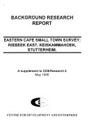 Pdf Eastern Cape Small Town Survey