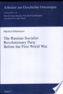 The Russian Socialist Revolutionary Party Before the First World War
