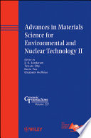 Advances In Materials Science For Environmental And Nuclear Technology Ii Book PDF