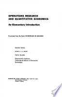 OPERATIONS RESEARCH AND QUANTITATIVE ECONOMICS An Elementary Introduction