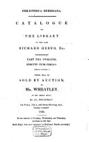 Auction catalogue, books of Richard Heber, 1 to 9 July 1836
