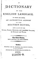 A Dictionary of the English Language. The 3. Ed. (etc.)