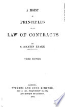 A Digest of Principles of the Law of Contracts Book