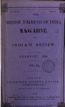 The British Friend Of India Magazine And Indian Review February 1846 Vol Ix