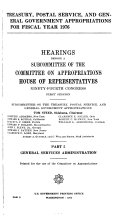 Hearings Before a Subcommittee of the Committee on Appropriations  House of Representatives