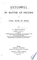 Estoppel by Matter of Record in Civil Suits in India Book