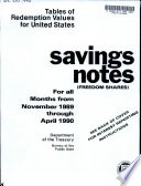 Tables of Redemption Values for United States Savings Notes for the Months of
