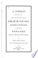 Sermon Preached on the Sunday After the Assassination of Abraham Lincoln