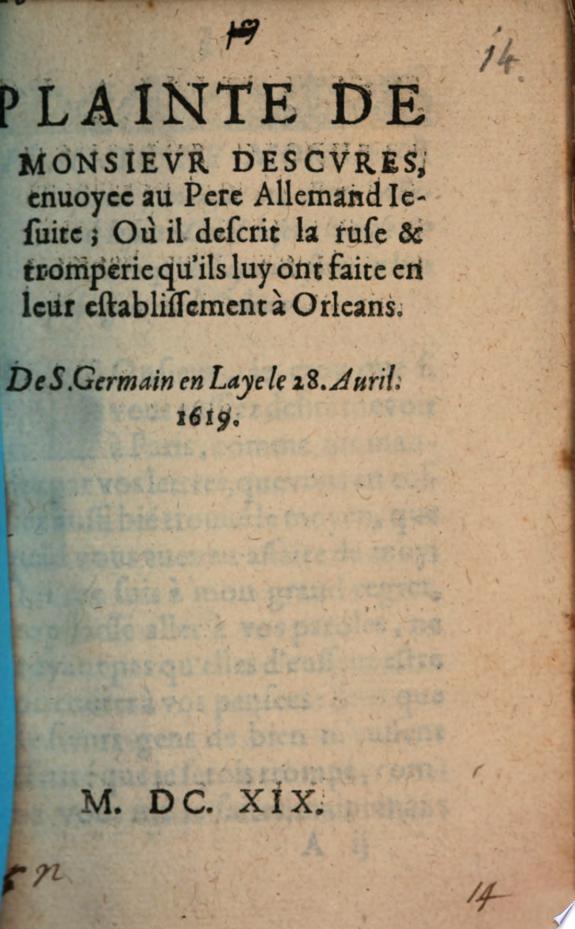 Plainte     envoy  e au Pere Allemand Jesuite ou il descrit la tromperie faite    Orleans