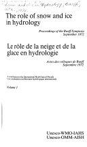 Rôle de la Neige Et de la Glace en Hydrologie ebook
