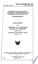 Investigation Of Political Fundraising Improprieties And Possible Violations Of Law Interim Report