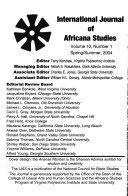 The International Journal of Africana Studies Book