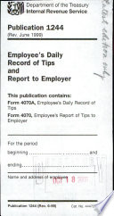 Employee S Daily Record Of Tips Form 4070 A And Employee S Report Of Tips To Employer Form 4070