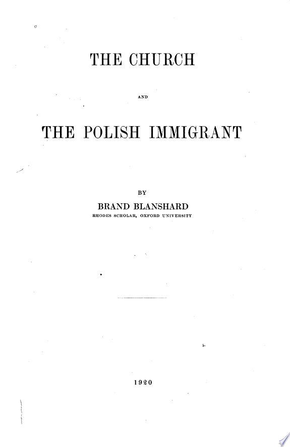 The Church and the Polish Immigrant