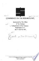 Conference on Tax Research  1975  Washington  D C   July 17 and 18  1975