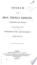 Speech On The Prosecution Of The Publisher T Williams Of The Age Of Reason