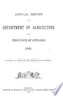 Annual Report of the Department of Agriculture, for the Province of Ontario
