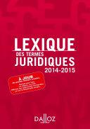 Lexique des Termes Juridiques 2014/2015