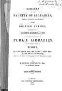 Remarks on the Paucity of Libraries  Freely Open to the Public  in the British Empire