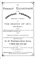 The Summer Excursionist of the Central Vermont Railroad Company for the Season