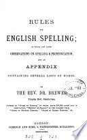 Rules for English spelling Book