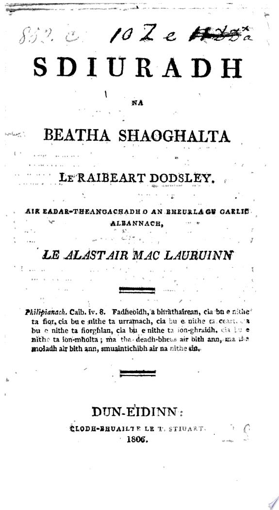 Sdiuradh na Beatha Shaoghalta  pt  1 only  le R  Dosley  Air eadar theangachadh o an bheurla gu Gaelic Albannach  le Alastair Mac Lauruinn