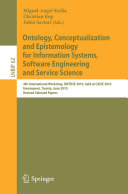 Ontology  Conceptualization and Epistemology for Information Systems  Software Engineering and Service Science