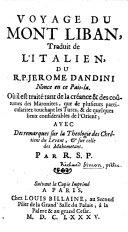 Voyage du Mont Liban, traduit de l'italien du R. P. Jérôme Dandini, nonce en ce pays-là