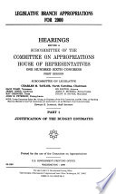 Legislative Branch Appropriations For 2000 Justification Of The Budget Estimates