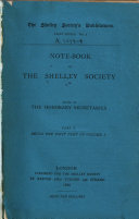 Note book of the Shelley Society