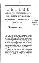 Lettre intéressante, curieuse et édifiante, d'un évêque catholique, à M. l'abbé Fau***, se disant évêque de***