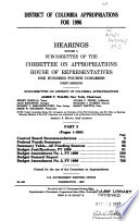 District of Columbia Appropriations for 1996: Control Board recommendations