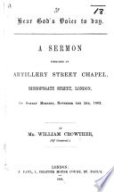 Hear God s Voice to day  A sermon preached     on Sunday morning  November the 2nd  1862