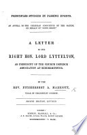 Principles of Legislation for the Church in Ireland. Three letters to ... Lord Lyttelton