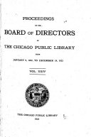 Proceedings Of The Board Of Directors Of The Chicago Public Library