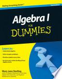 Cover of Algebra I For Dummies