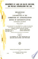 Departments of Labor, and Health, Education, and Welfare Appropriations for 1968
