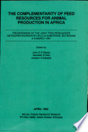 The Complementarity of Feed Resources for Animal Production in Africa